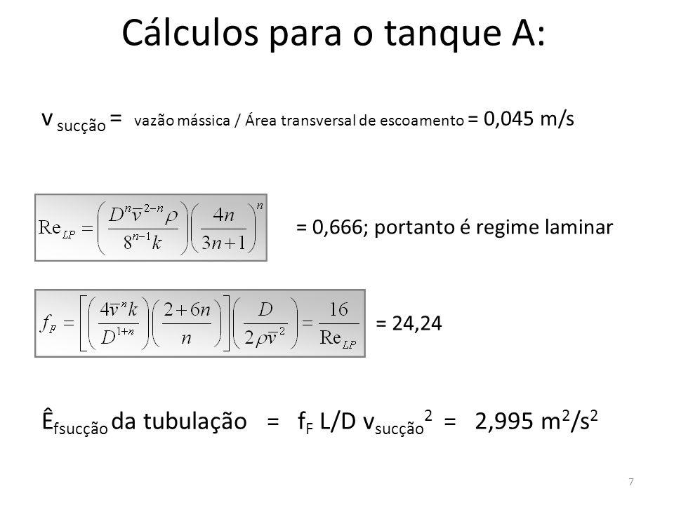 Cálculos para o tanque A: