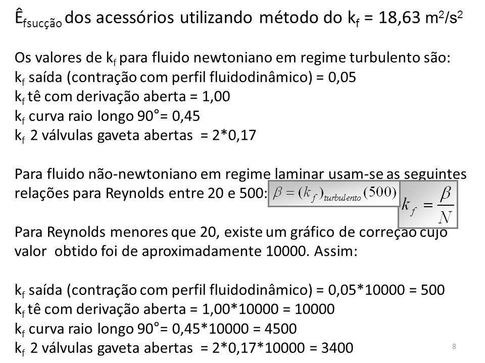 Êfsucção dos acessórios utilizando método do kf = 18,63 m2/s2