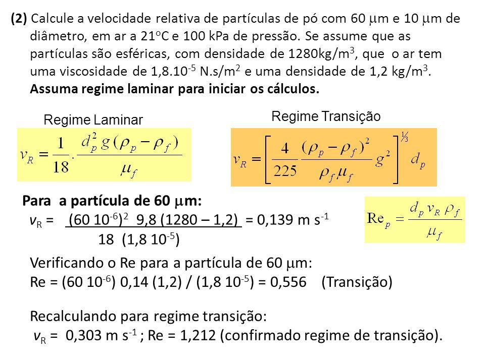 Verificando o Re para a partícula de 60 m: