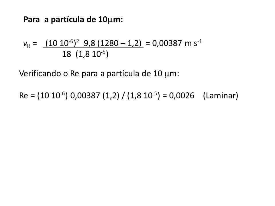 Para a partícula de 10m: vR = (10 10-6)2 9,8 (1280 – 1,2) = 0,00387 m s-1 18 (1,8 10-5)