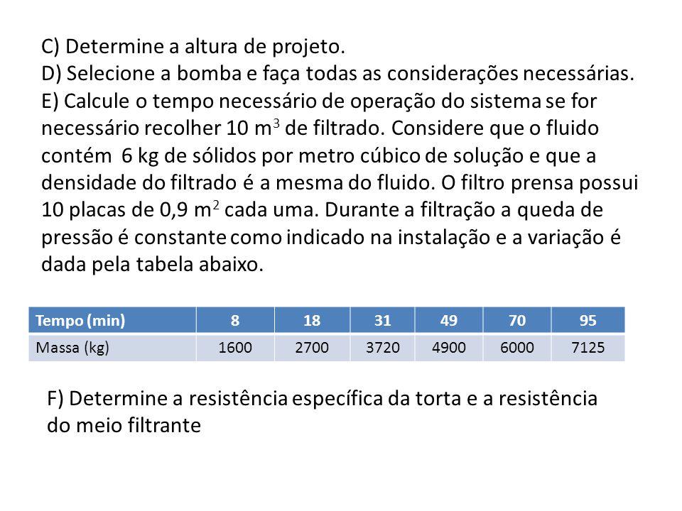 C) Determine a altura de projeto