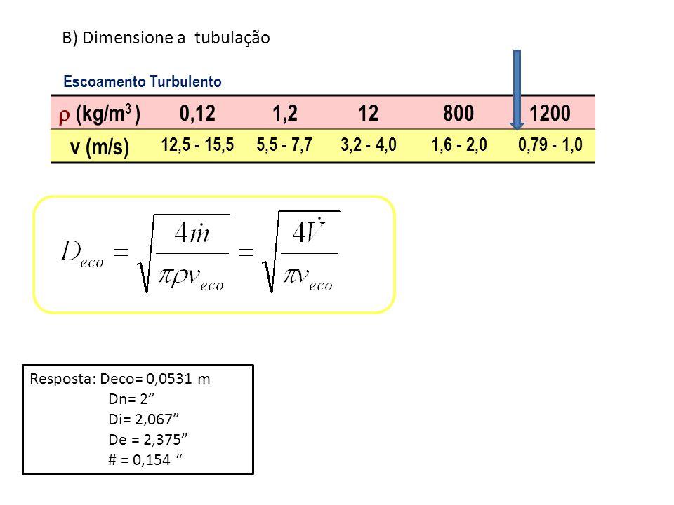  (kg/m3 ) 0,12 1,2 12 800 1200 v (m/s) B) Dimensione a tubulação