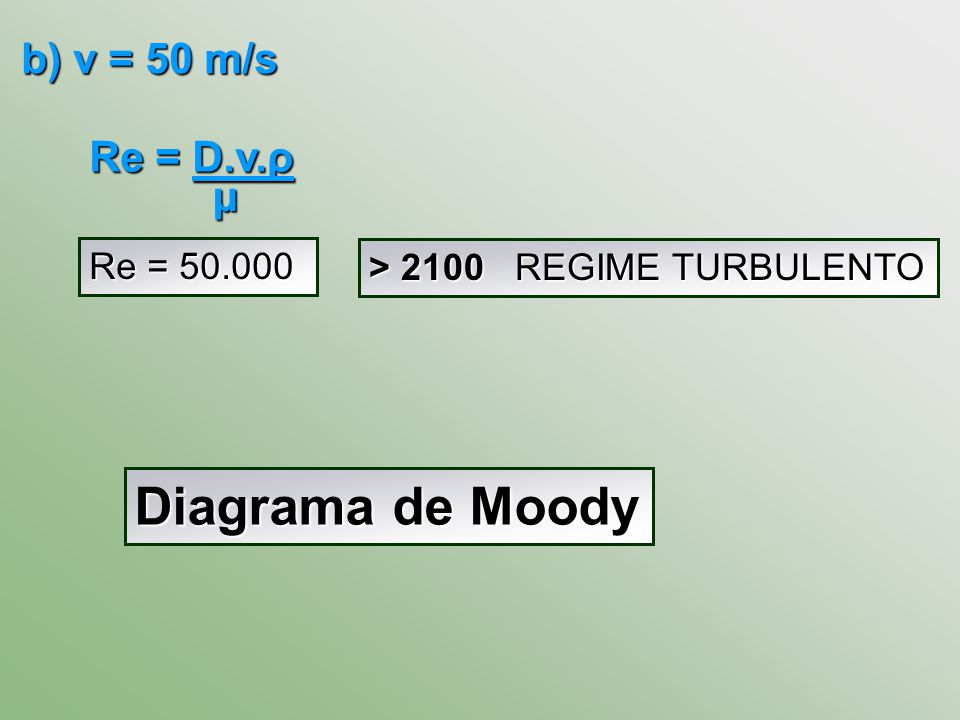 Diagrama de Moody b) v = 50 m/s Re = D.v.ρ μ Re = 50.000