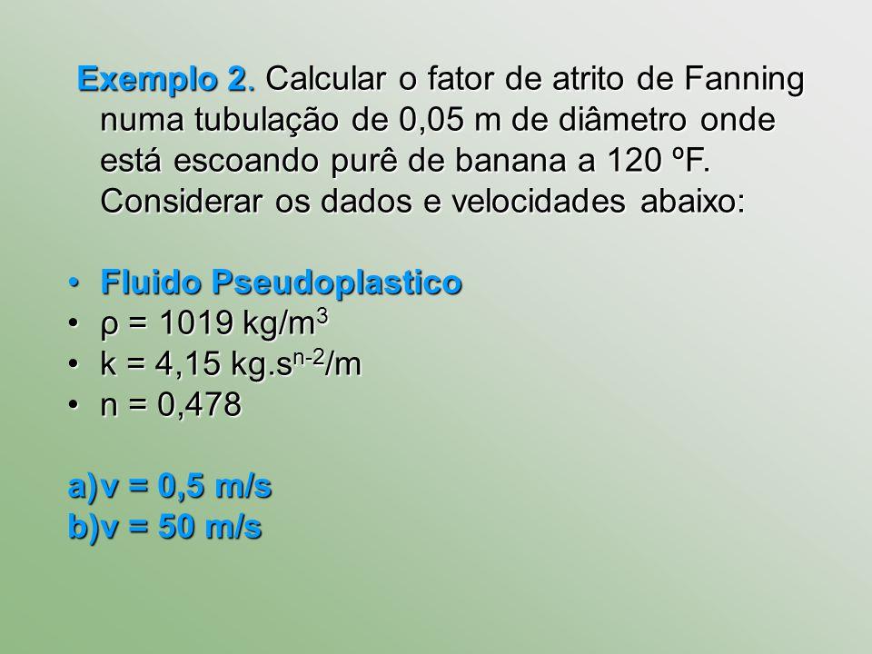 Exemplo 2. Calcular o fator de atrito de Fanning numa tubulação de 0,05 m de diâmetro onde está escoando purê de banana a 120 ºF. Considerar os dados e velocidades abaixo: