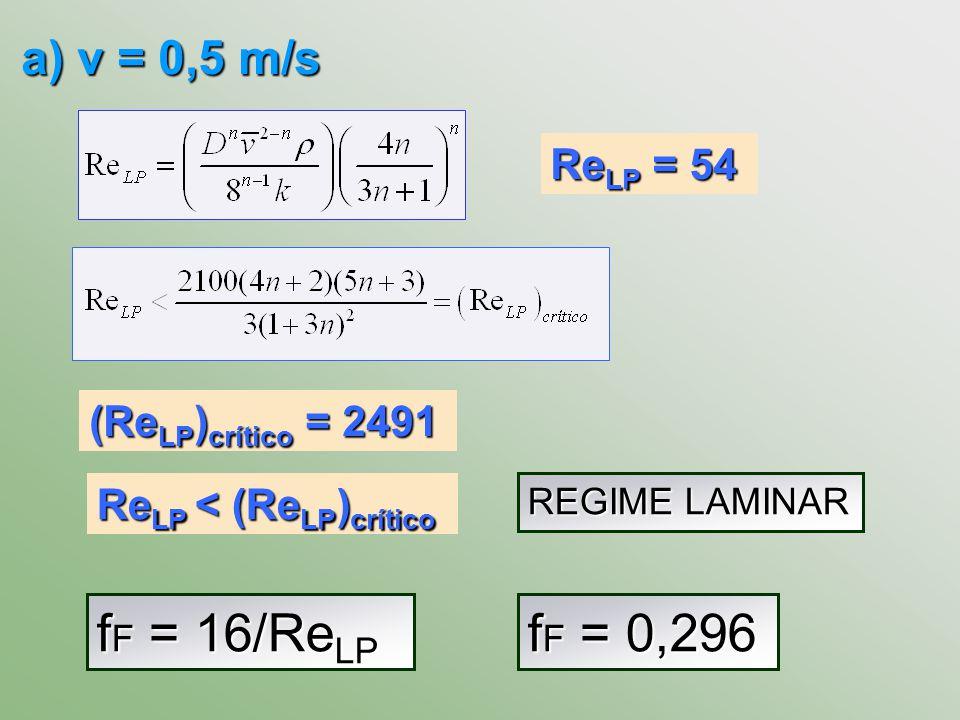 fF = 16/ReLP fF = 0,296 a) v = 0,5 m/s ReLP = 54 (ReLP)crítico = 2491