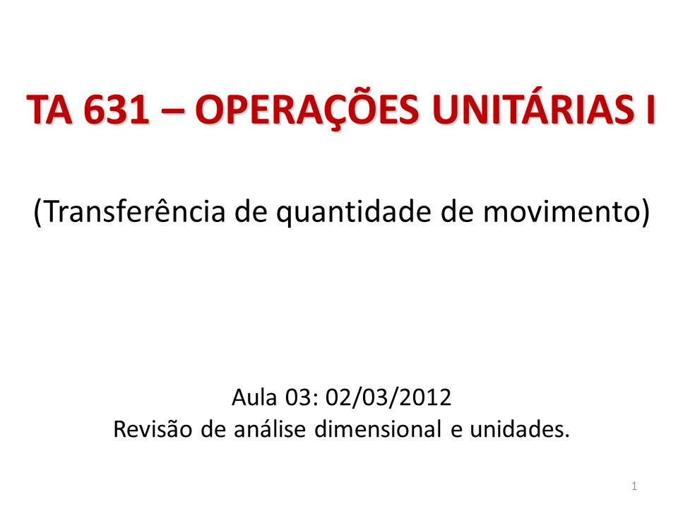 Aula 03: 02/03/2012 Revisão de análise dimensional e unidades.