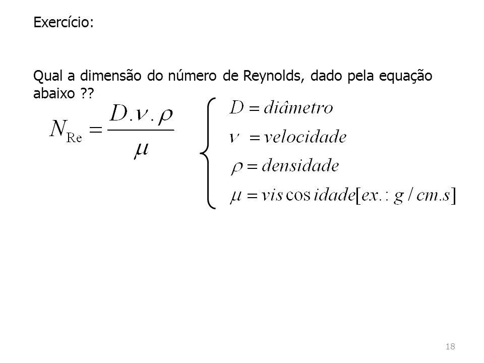 Exercício: Qual a dimensão do número de Reynolds, dado pela equação abaixo