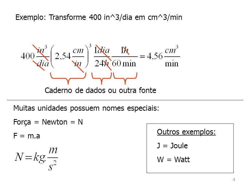 Exemplo: Transforme 400 in^3/dia em cm^3/min