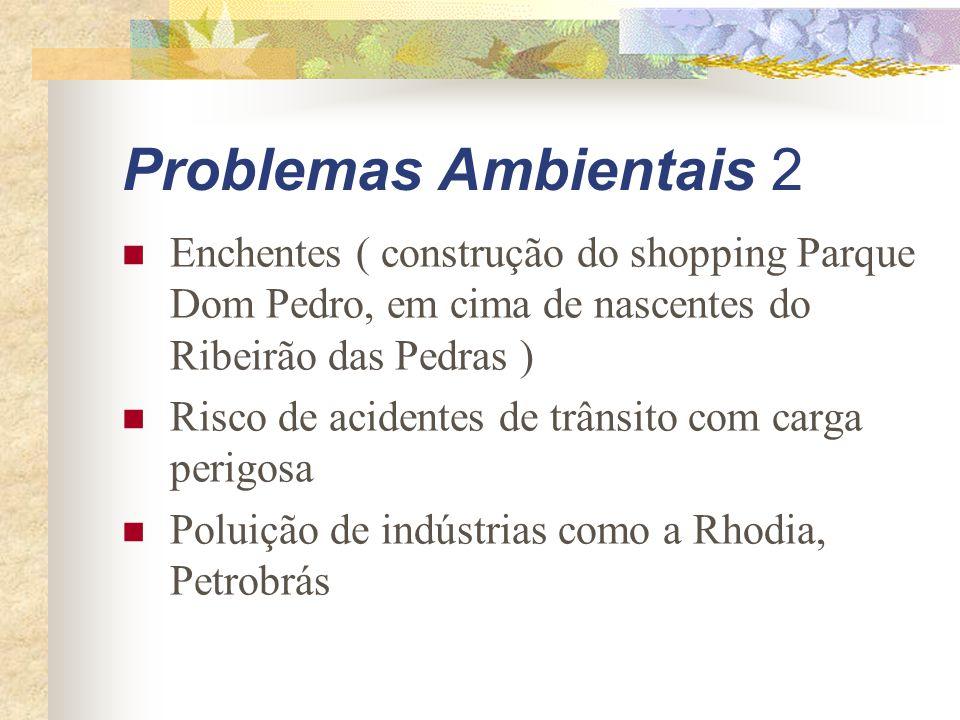 Problemas Ambientais 2 Enchentes ( construção do shopping Parque Dom Pedro, em cima de nascentes do Ribeirão das Pedras )