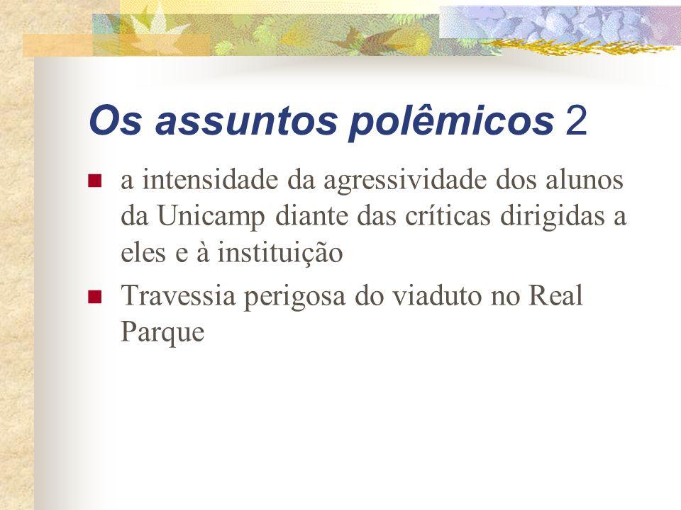 Os assuntos polêmicos 2 a intensidade da agressividade dos alunos da Unicamp diante das críticas dirigidas a eles e à instituição.