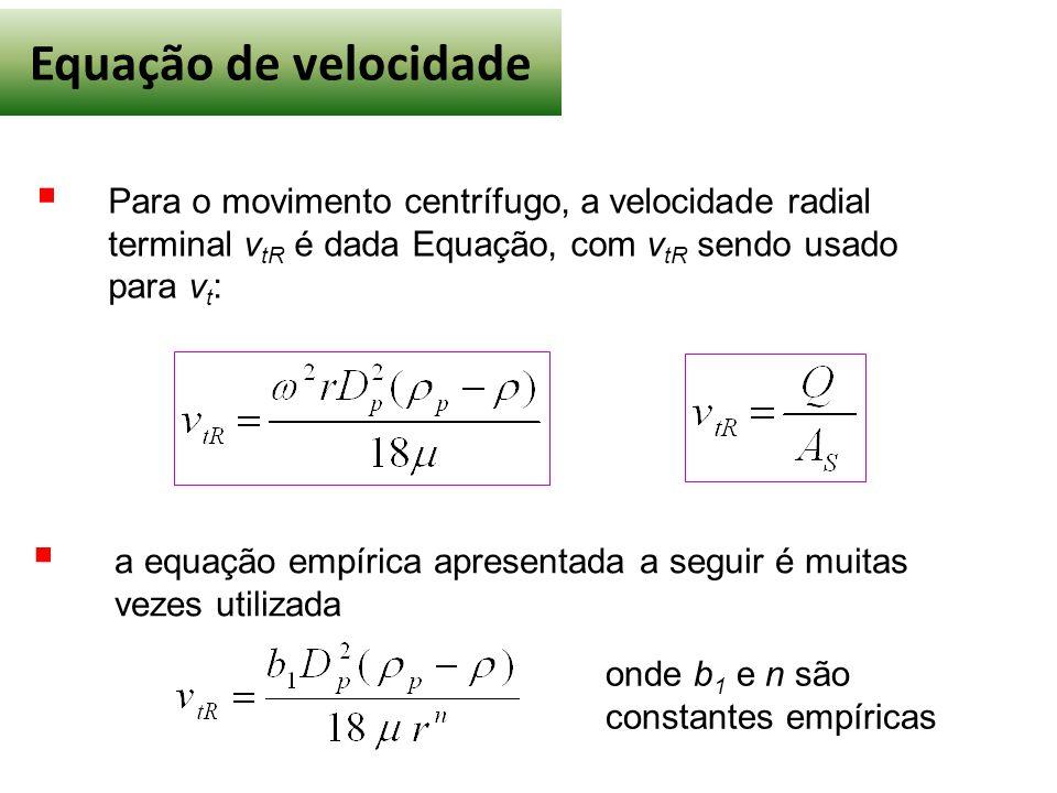 Equação de velocidade Para o movimento centrífugo, a velocidade radial terminal vtR é dada Equação, com vtR sendo usado para vt: