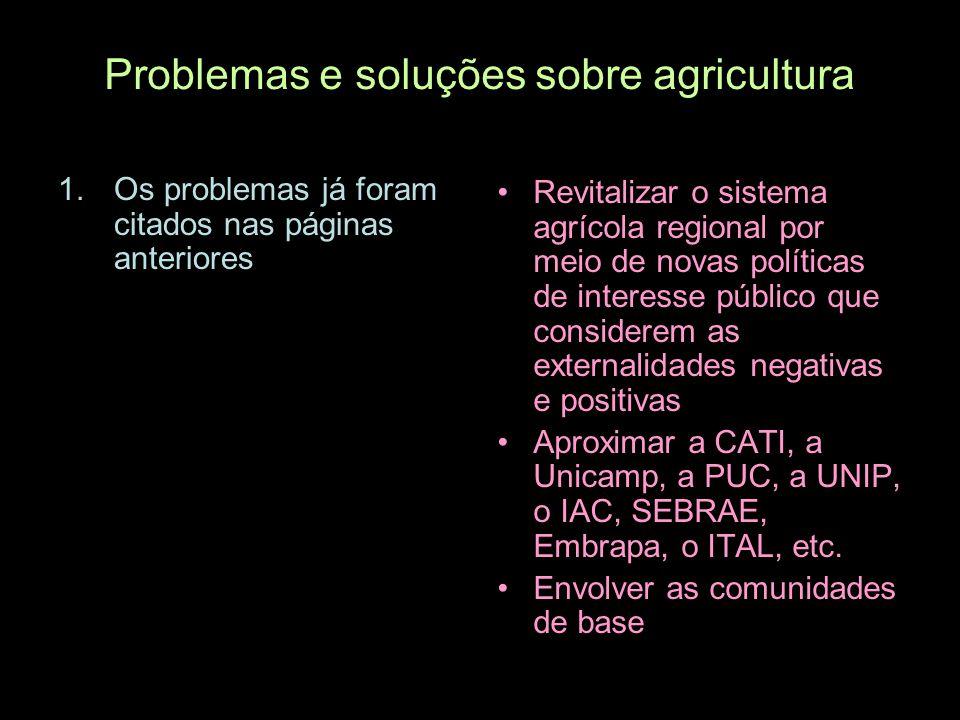 Problemas e soluções sobre agricultura