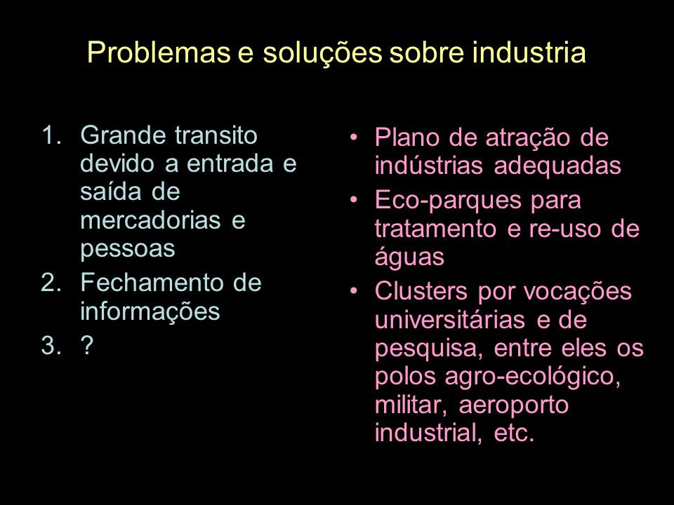 Problemas e soluções sobre industria