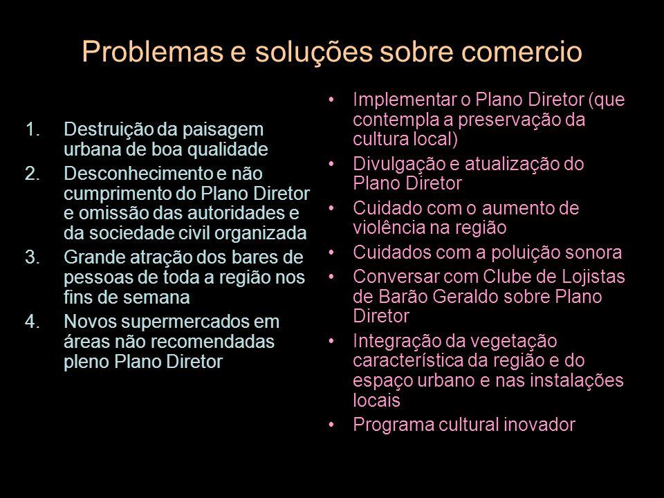 Problemas e soluções sobre comercio