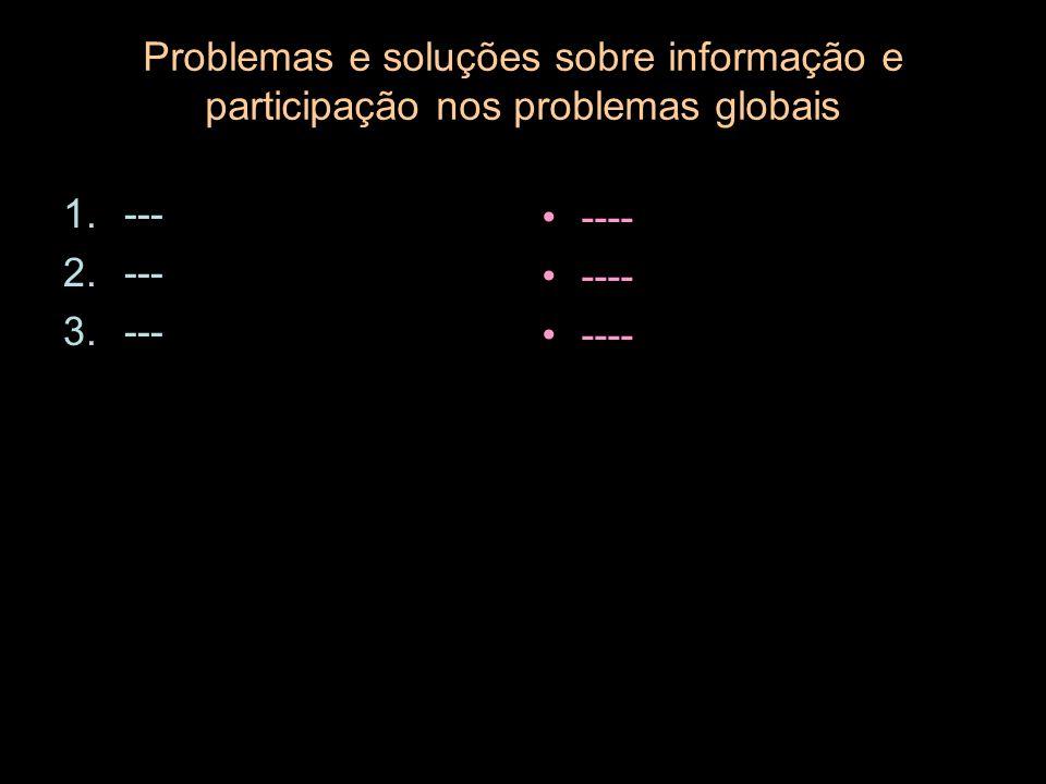 Problemas e soluções sobre informação e participação nos problemas globais