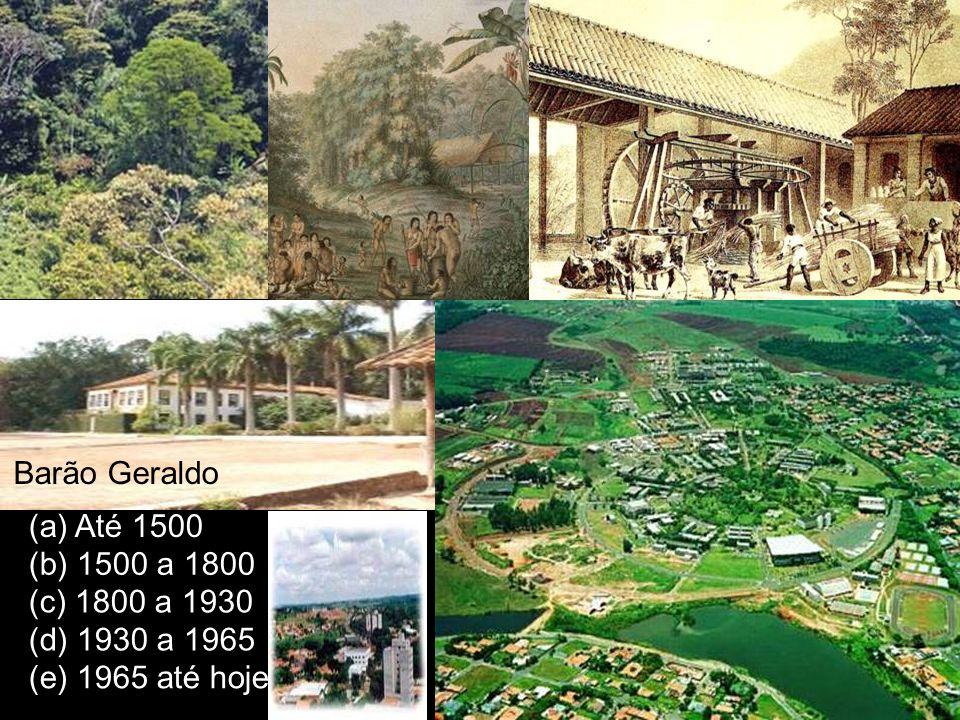 Barão Geraldo (a) Até 1500 (b) 1500 a 1800 (c) 1800 a 1930 (d) 1930 a 1965 (e) 1965 até hoje