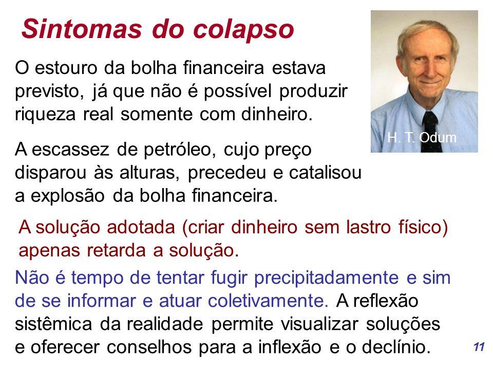 Sintomas do colapso H. T. Odum. O estouro da bolha financeira estava previsto, já que não é possível produzir riqueza real somente com dinheiro.