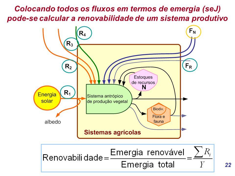 Colocando todos os fluxos em termos de emergia (seJ) pode-se calcular a renovabilidade de um sistema produtivo