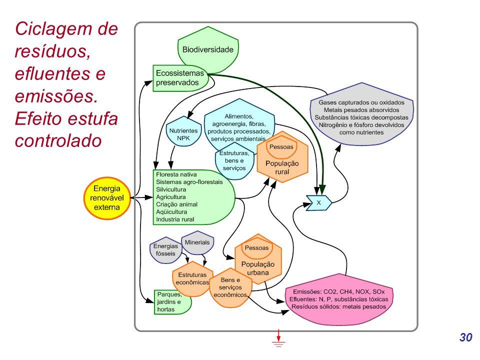 Ciclagem de resíduos, efluentes e emissões. Efeito estufa controlado