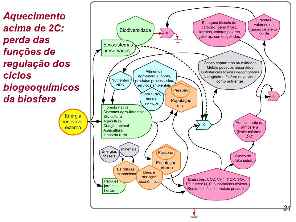 Aquecimento acima de 2C: perda das funções de regulação dos ciclos biogeoquímicos da biosfera