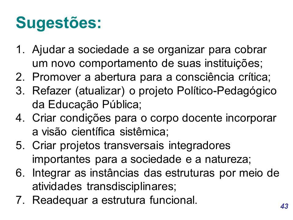 Sugestões: Ajudar a sociedade a se organizar para cobrar um novo comportamento de suas instituições;