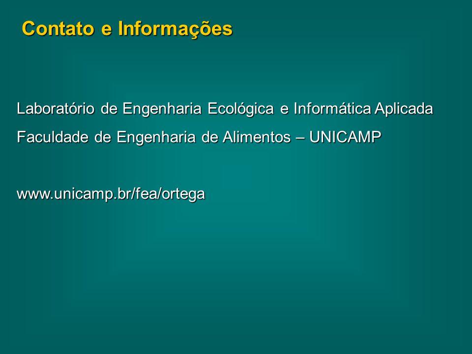 Contato e Informações Laboratório de Engenharia Ecológica e Informática Aplicada. Faculdade de Engenharia de Alimentos – UNICAMP.