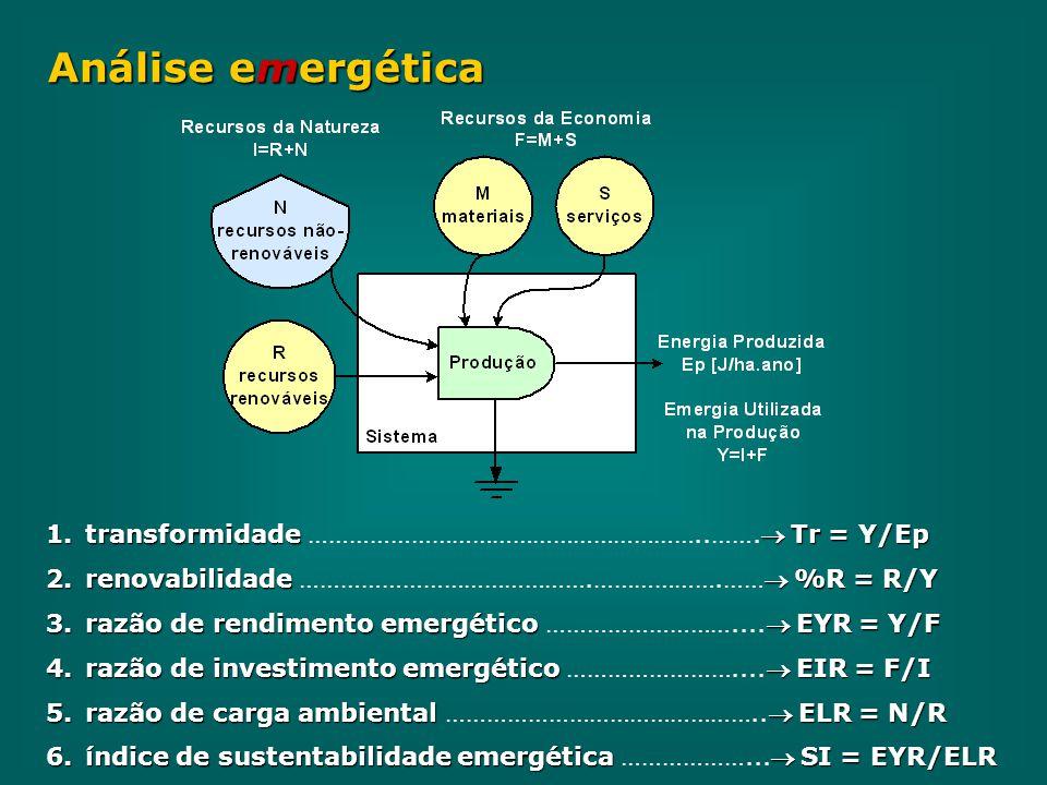 Análise emergética transformidade …………………………………………………..……. Tr = Y/Ep