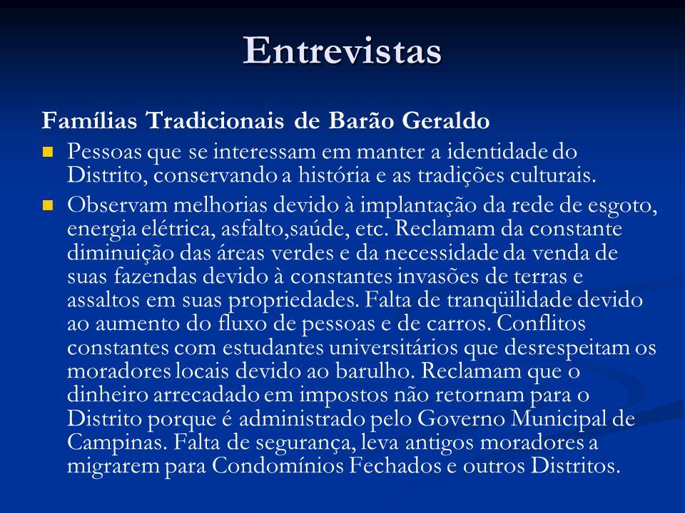 Entrevistas Famílias Tradicionais de Barão Geraldo