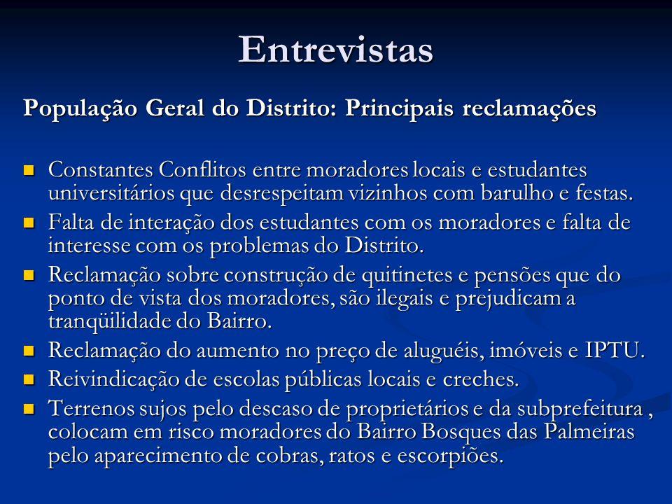 Entrevistas População Geral do Distrito: Principais reclamações