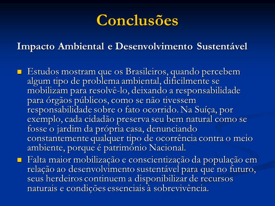 Conclusões Impacto Ambiental e Desenvolvimento Sustentável