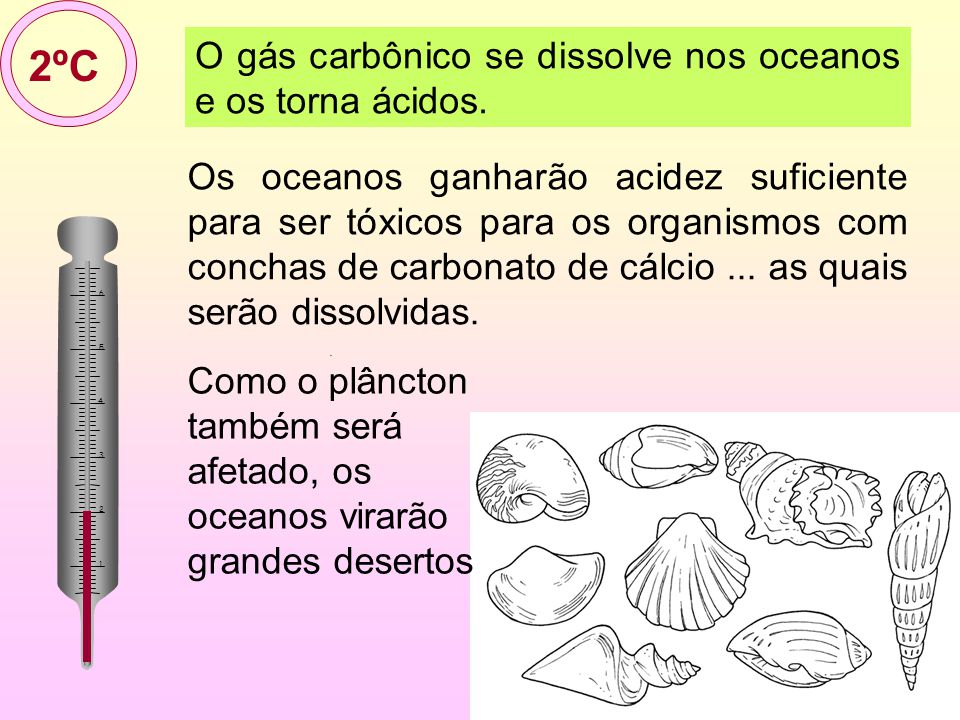 2ºC O gás carbônico se dissolve nos oceanos e os torna ácidos.