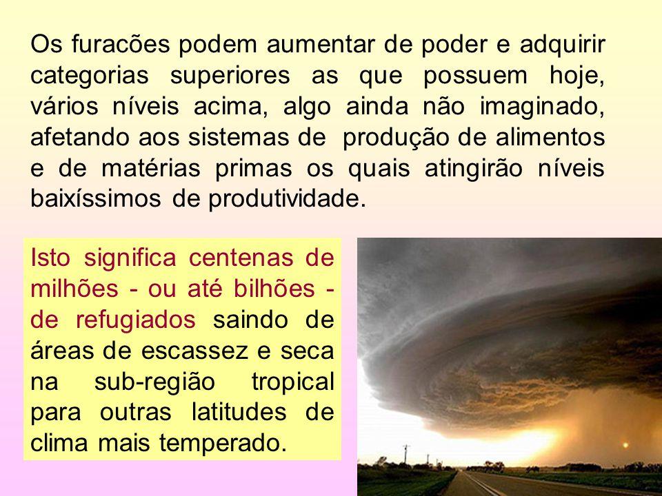 Os furacões podem aumentar de poder e adquirir categorias superiores as que possuem hoje, vários níveis acima, algo ainda não imaginado, afetando aos sistemas de produção de alimentos e de matérias primas os quais atingirão níveis baixíssimos de produtividade.