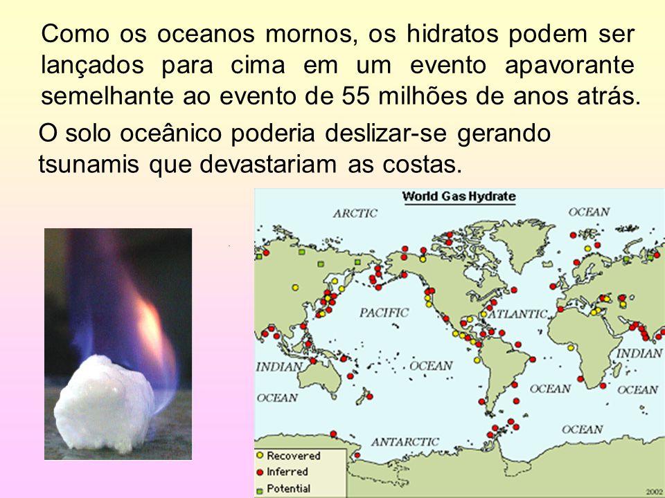 Como os oceanos mornos, os hidratos podem ser lançados para cima em um evento apavorante semelhante ao evento de 55 milhões de anos atrás.