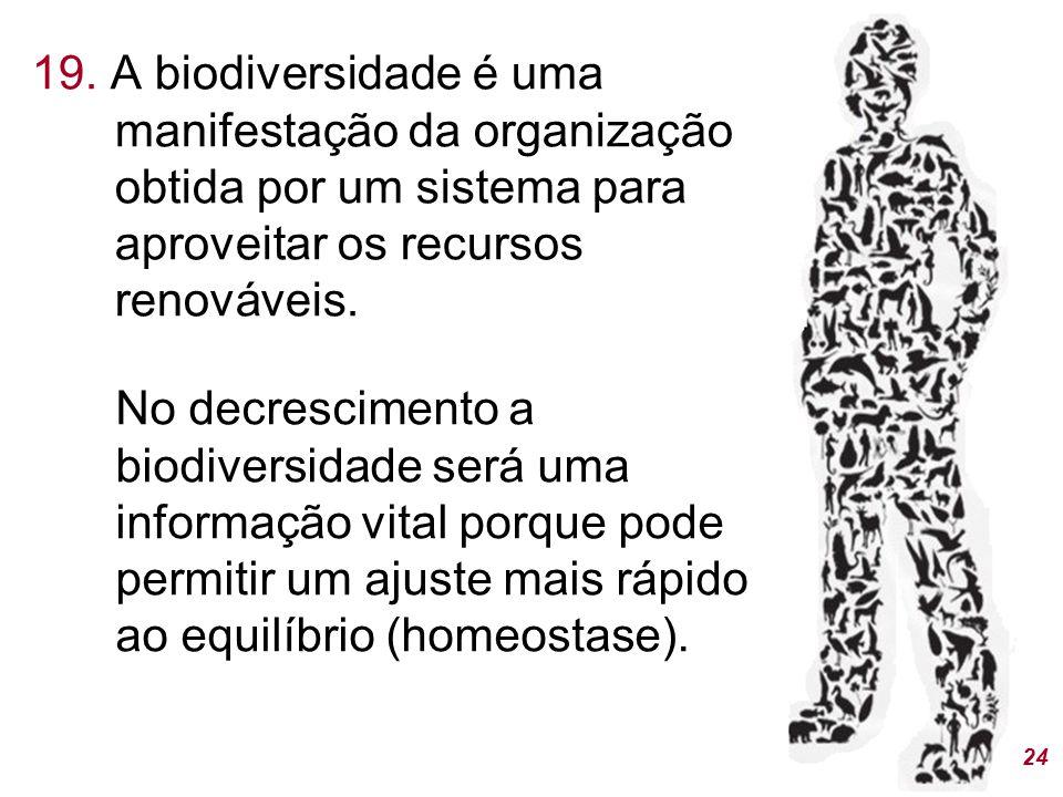 19. A biodiversidade é uma manifestação da organização obtida por um sistema para aproveitar os recursos renováveis.