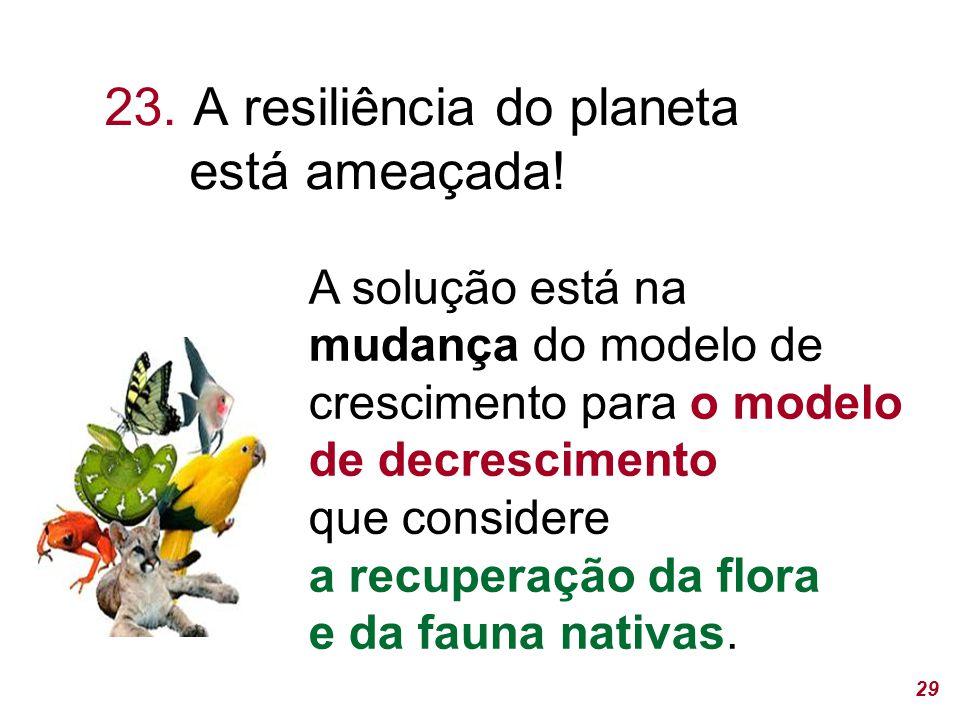 23. A resiliência do planeta está ameaçada!