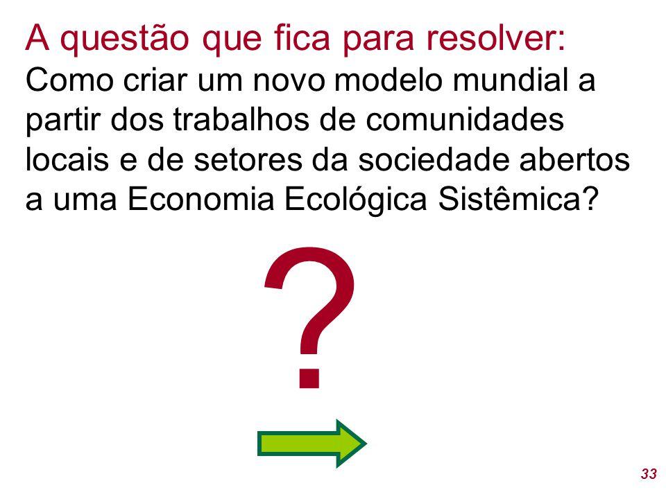 A questão que fica para resolver: Como criar um novo modelo mundial a partir dos trabalhos de comunidades locais e de setores da sociedade abertos a uma Economia Ecológica Sistêmica