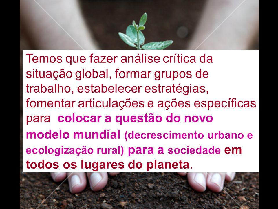 Temos que fazer análise crítica da situação global, formar grupos de trabalho, estabelecer estratégias, fomentar articulações e ações específicas para colocar a questão do novo modelo mundial (decrescimento urbano e ecologização rural) para a sociedade em todos os lugares do planeta.
