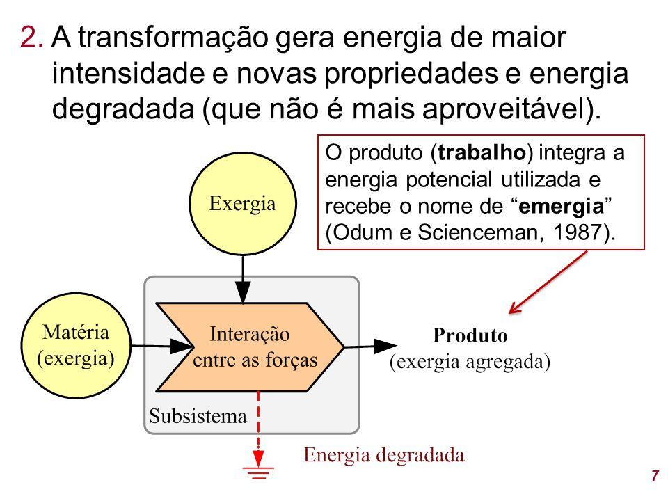 2. A transformação gera energia de maior intensidade e novas propriedades e energia degradada (que não é mais aproveitável).