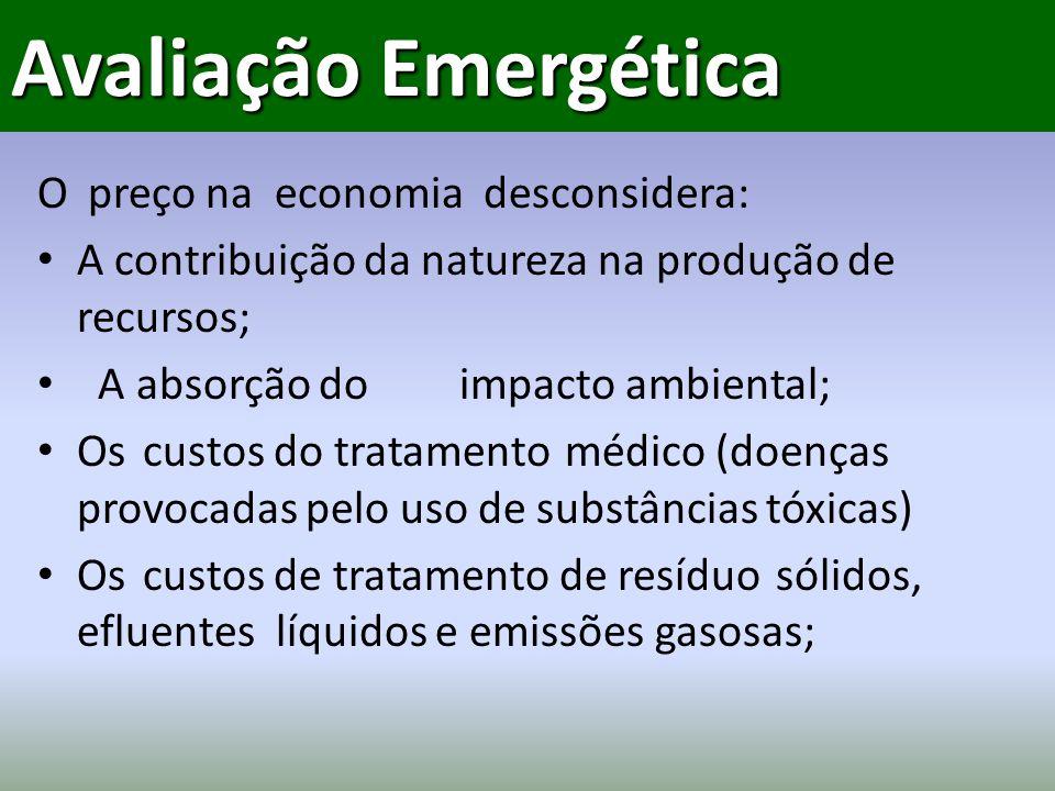 Avaliação Emergética O preço na economia desconsidera: