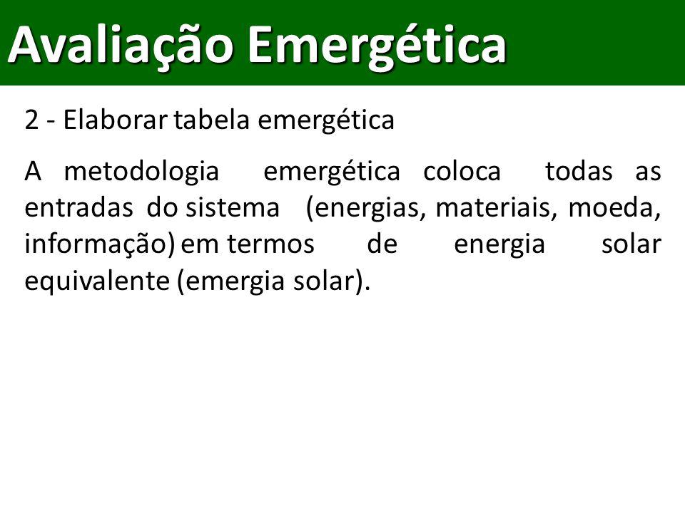 Avaliação Emergética 2 - Elaborar tabela emergética