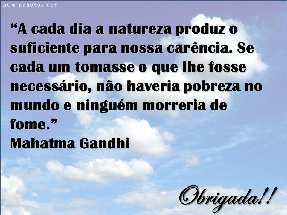 A cada dia a natureza produz o suficiente para nossa carência