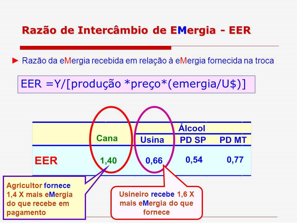 Razão de Intercâmbio de EMergia - EER