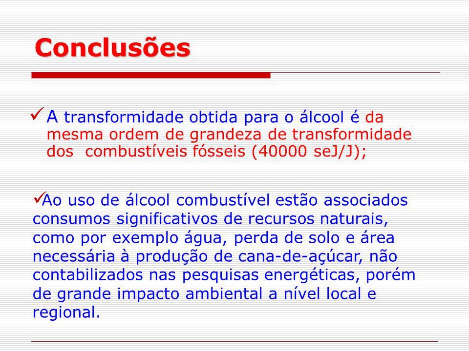 Conclusões A transformidade obtida para o álcool é da mesma ordem de grandeza de transformidade dos combustíveis fósseis (40000 seJ/J);