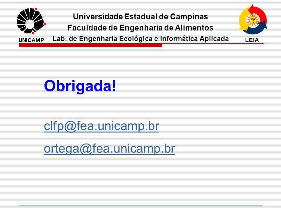 Obrigada! clfp@fea.unicamp.br ortega@fea.unicamp.br