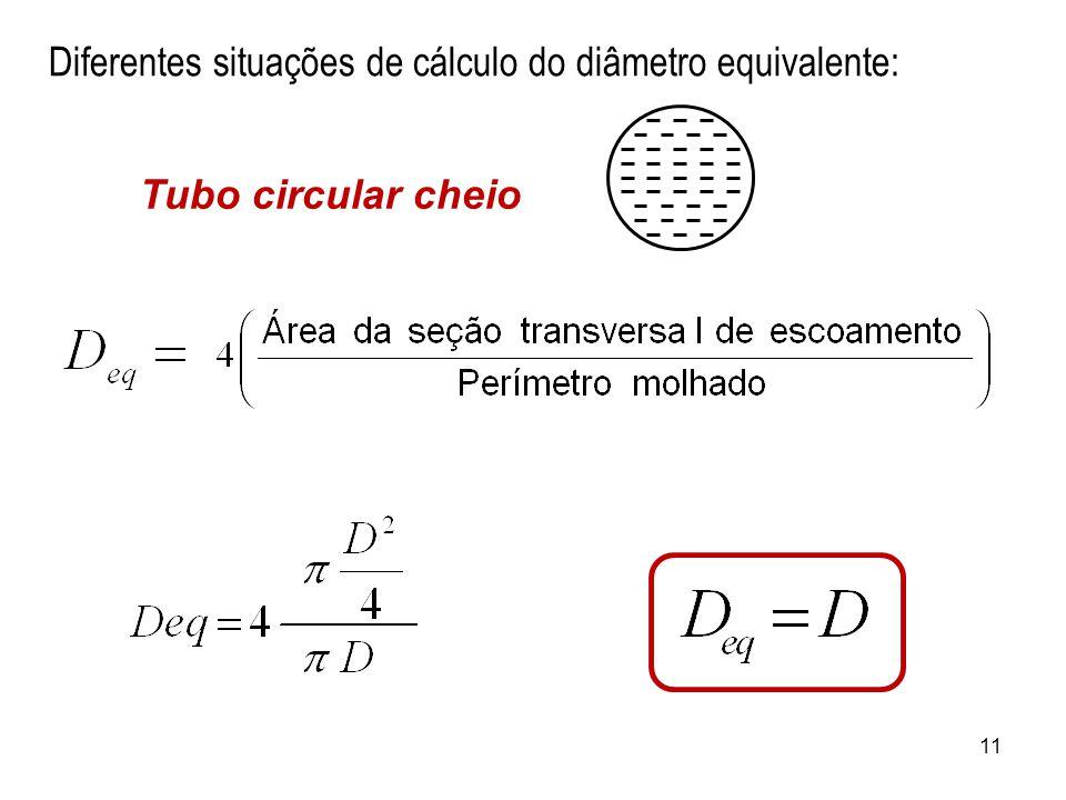 Diferentes situações de cálculo do diâmetro equivalente: