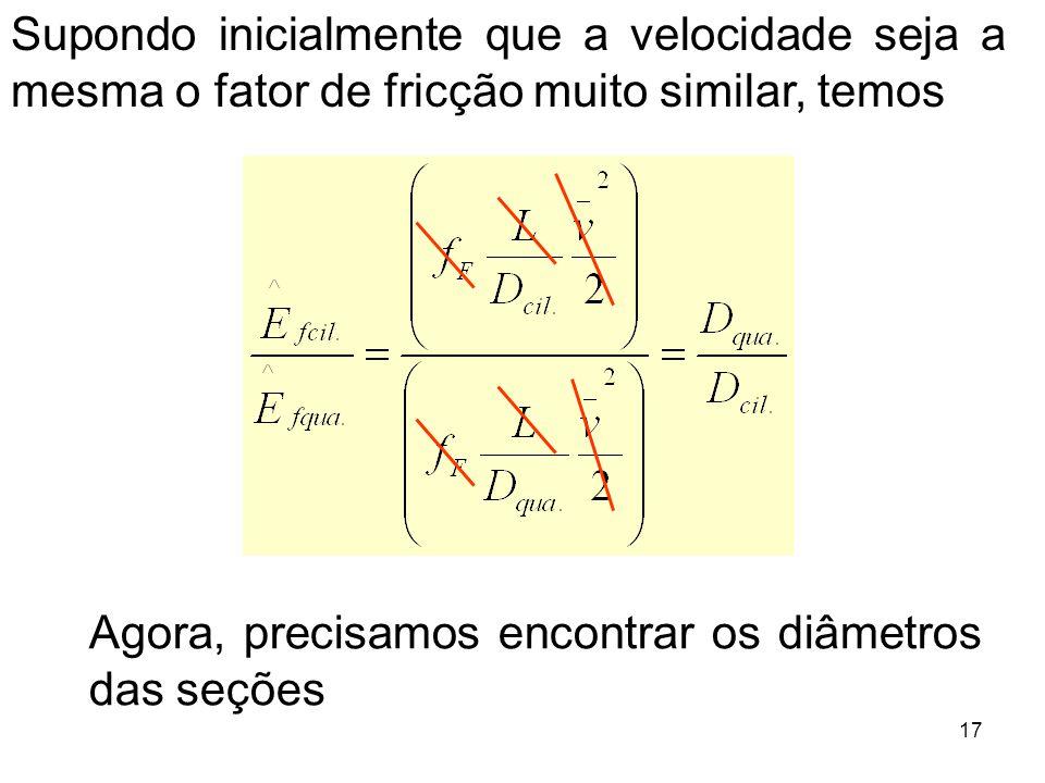 Supondo inicialmente que a velocidade seja a mesma o fator de fricção muito similar, temos