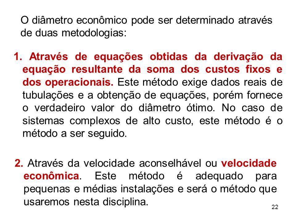 O diâmetro econômico pode ser determinado através de duas metodologias: