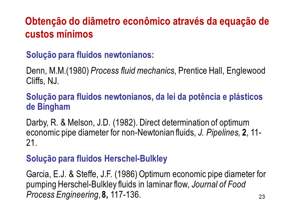 Obtenção do diâmetro econômico através da equação de custos mínimos