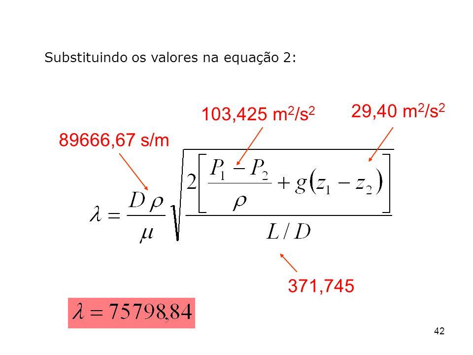 Substituindo os valores na equação 2: