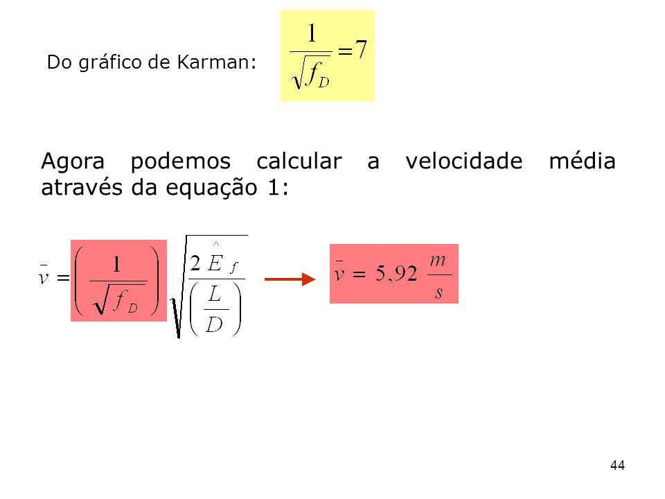 Agora podemos calcular a velocidade média através da equação 1: